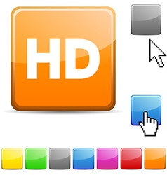 HD glossy button vector image
