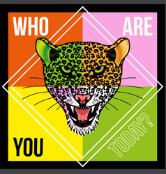 head of leopard with phrase vector image