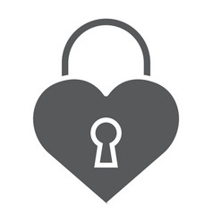 heart lock glyph icon love and padlock love lock vector image