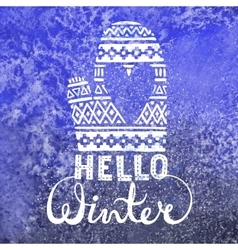 Hello winter text brush lettering and knitted vector image