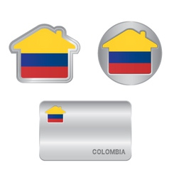 Home icon on the Colombia flag vector image