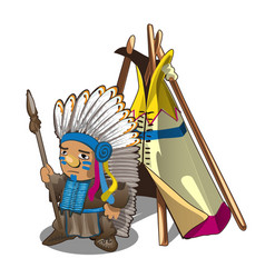 indian tent or wigwam teepee and indian man with vector image