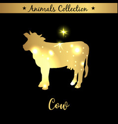 Isolated vintage gold emblem for farm with cow vector