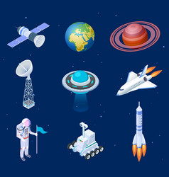 isometric spaceships space satellite rocket vector image