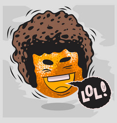 Lol lots laughs with laughing orange with afro vector