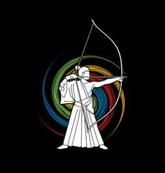 Man bowing kyudo archer sport man vector