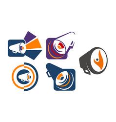 megaphone shout template set vector image