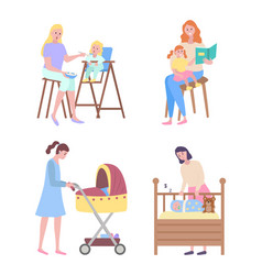 mother and children cradle and baby story time vector image