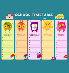 owl timetable template vector image