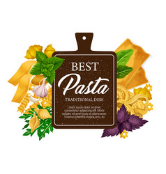 Pasta from italy pastry food vector