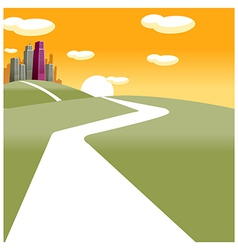Path towards city vector image