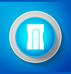 pencil sharpener icon isolated on blue background vector image