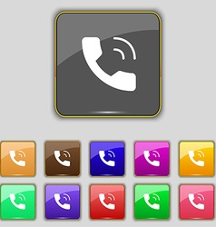 Phone icon sign Set with eleven colored buttons vector