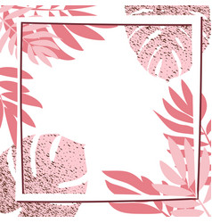 Pink tropical leaves with frame vector