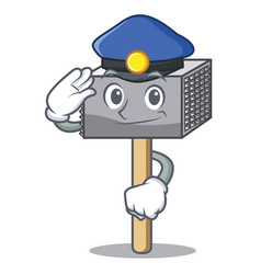 police character of metallic meat tenderizer vector image
