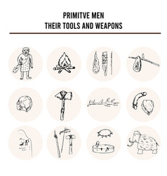 Primitive men with tools and weapons isolated hand vector