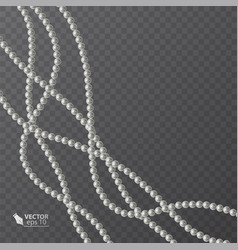 Realistic strands of white pearls decorative vector