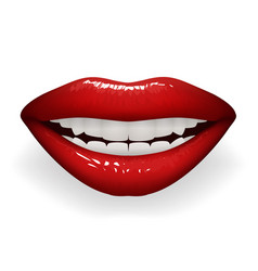 red glossy lips female smile mouth teeth stylish vector image