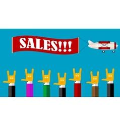 Retro sales banner vector