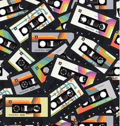 retro vintage cassette tape seamless background vector image