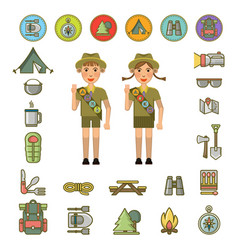 Scout boy and girl and equipment signs around vector