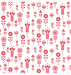 seamless scandinavian floral pattern red vector image