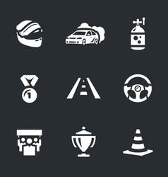 set auto rally icons vector image