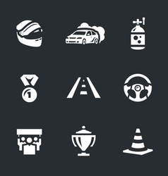 Set of auto rally icons vector