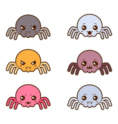 Set of kawaii spiders with different facial vector