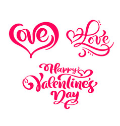 set of red calligraphy text happy valentines day vector image