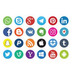 Set popular social media logos vector
