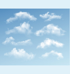 set transparent different clouds isolated vector image