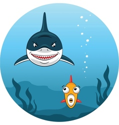 Shark hunting for small fish vector image