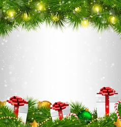 Shiny Christmas tree with gift boxes and led vector image