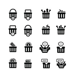 Shopping cart with bubble talk status icons vector