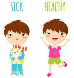 Sick sad little boy and cheerful healthy jumping vector
