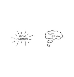 slow fashion handwritten title and fashion vector image