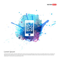 Smart phone icon - watercolor background vector