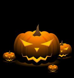 Spooky halloween pumpkins on black background vector
