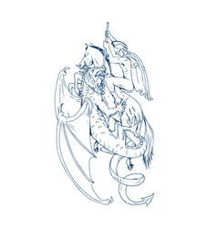 st george slay dragon drawing vector image