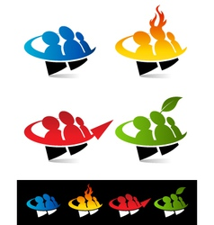 Swoosh People Logo Icons vector