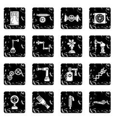 Technical mechanisms icons set grunge vector