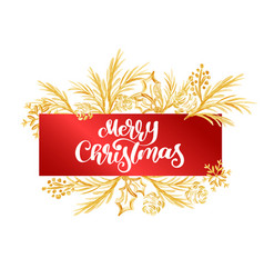 text merry christmas on a red tag on the vector image