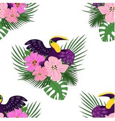 toucan paradise pattern cartoon style vector image