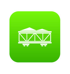 Train cargo wagon icon digital green vector