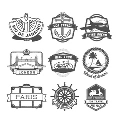 Travel badges set vector image