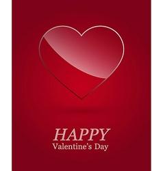 Valentine day luxury glass heart vector image