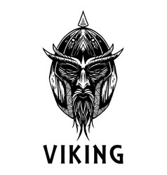 Viking scandinavian ancient warrior head vector