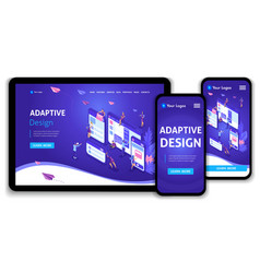 Website template landing page isometric concept vector