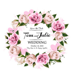 Wedding invitation desing with coloful roses and vector